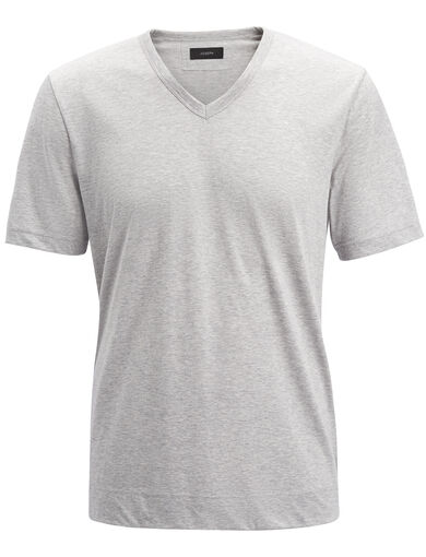 Mercerized Jersey V Neck Tee, in CONCRETE, large | on Joseph