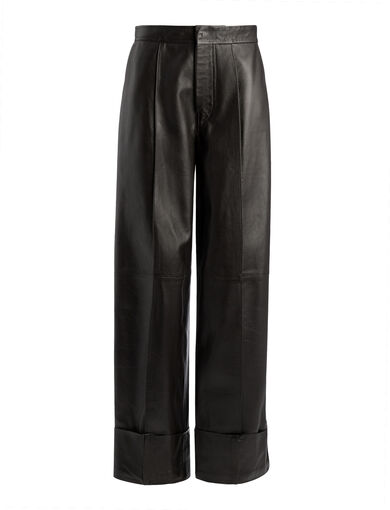 Nappa Brem Leather Trousers, in CHOCOLATE, large | on Joseph