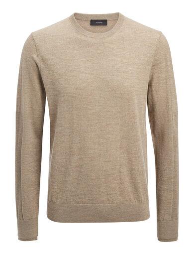 Merinos + Rib Patch Sweater, in SAND, large | on Joseph
