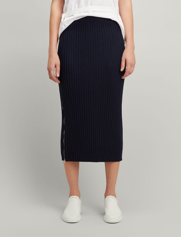 Merinos-rib Skirt, in NAVY, large | on Joseph