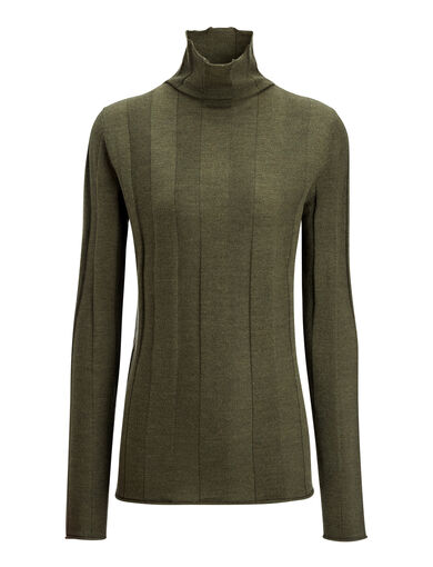Fine Merinos High Neck Rib Sweater, in MILITARY, large | on Joseph