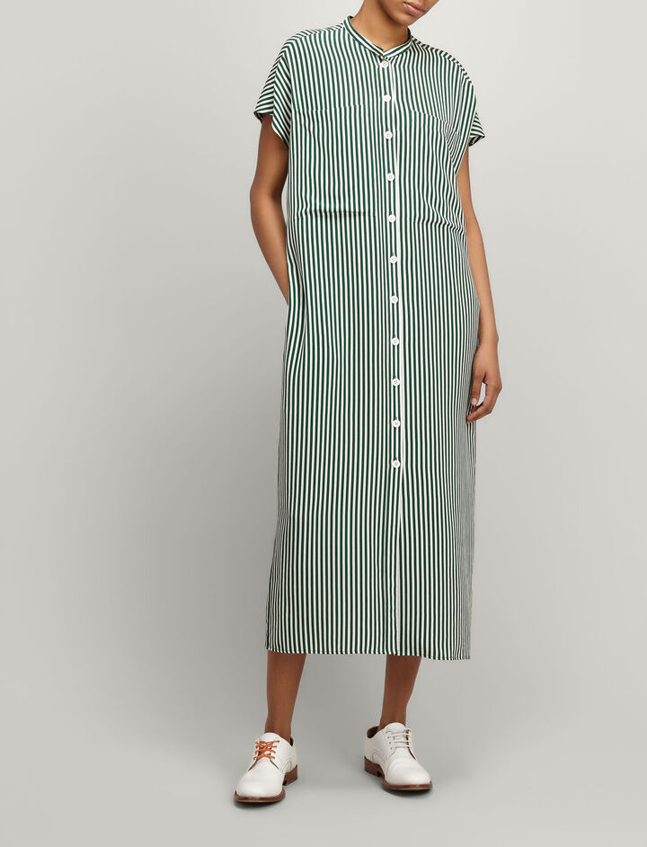 Deck Charir Stripe Silk Issac Dress, in EMERALD, large | on Joseph