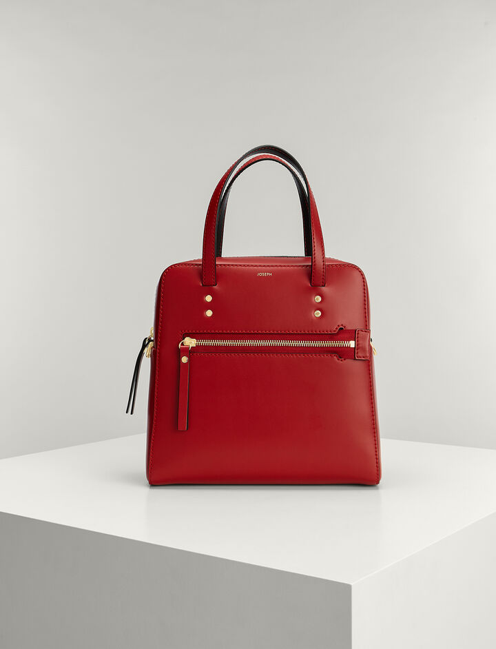 Joseph, Calf-leather Ryder Bag, in RED/BLACK