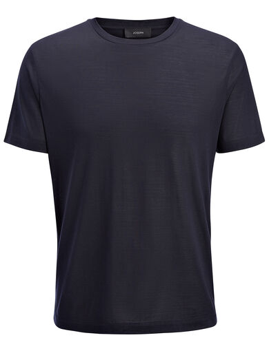 Silk Jersey Tee, in NAVY, large | on Joseph