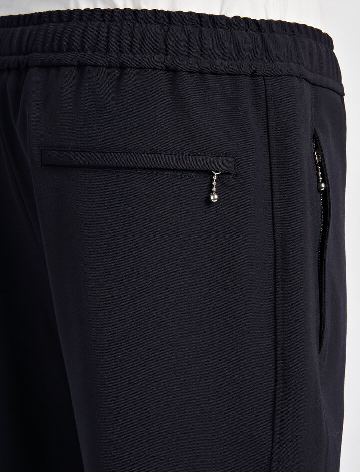 Techno Wool Stretch Epping Trouser, in NAVY, large | on Joseph