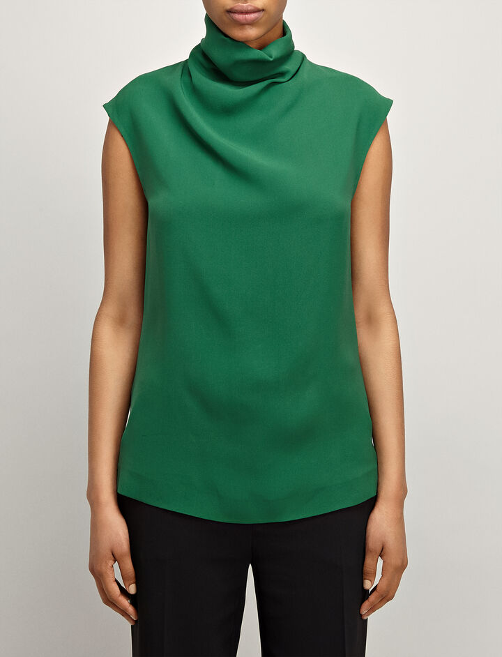 Joseph, Crepe Silk Louis Blouse, in EMERALD