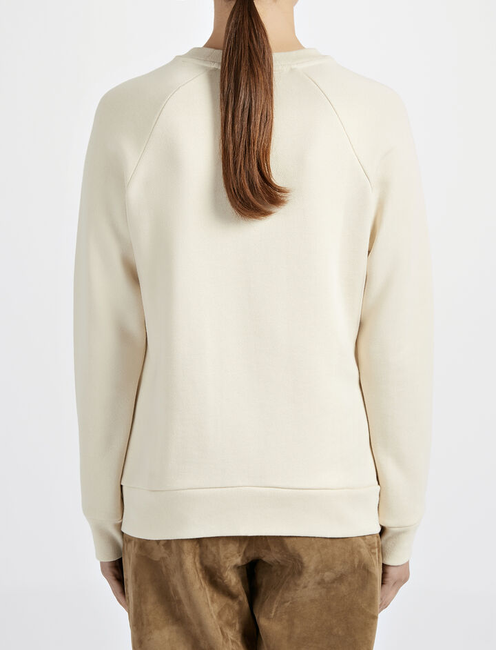 Loop Back Eyelet Sweater, in ECRU, large | on Joseph