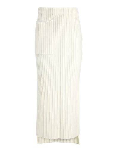 Wool Viscose Rib Long Skirt, in BONE, large | on Joseph