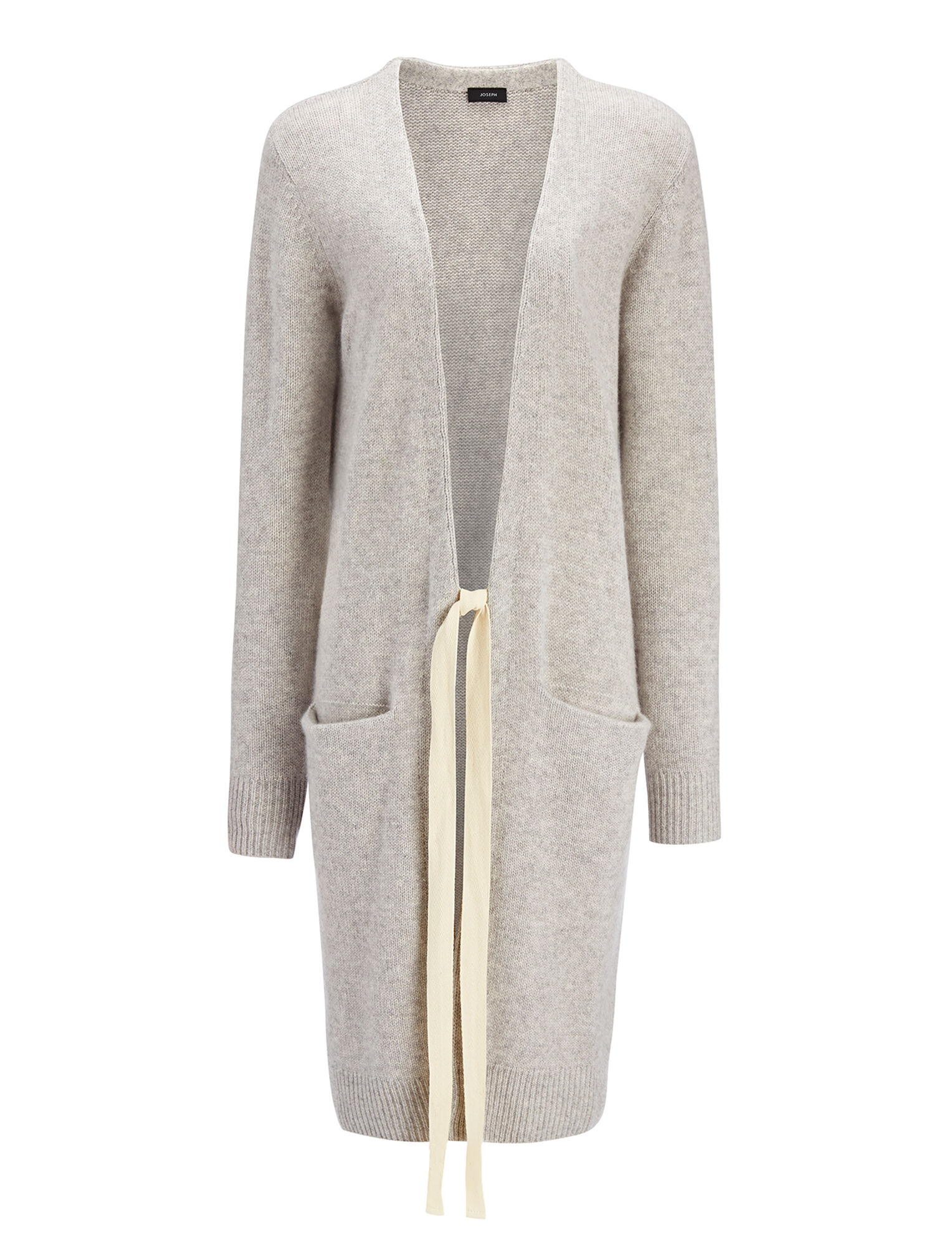 Open Cashmere Long Cardigan in Grey | JOSEPH