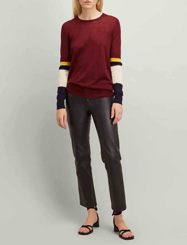 Cashair Stripe Round Neck Sweater , in MORGON, large | on Joseph