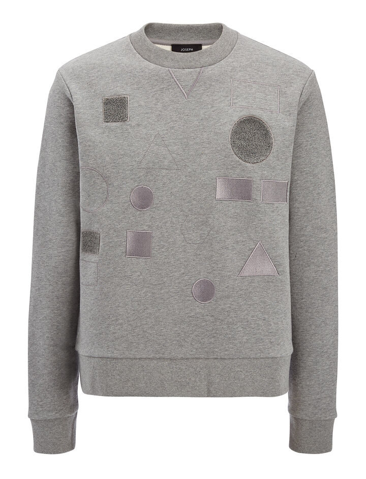 Sweatshirt Badges Sweater, in GREY CHINE, large | on Joseph