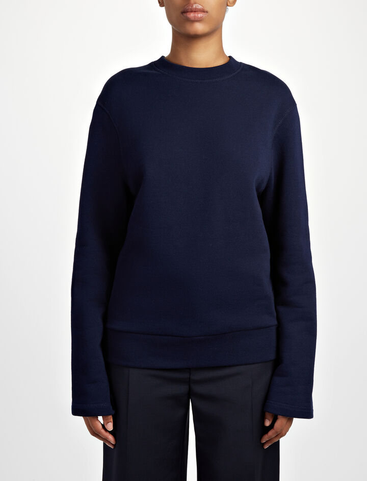 Loop Back Knot Sweater, in MARINE, large | on Joseph