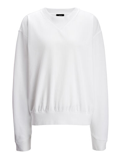 Pull en molleton garmend dyed, in WHITE, large | on Joseph