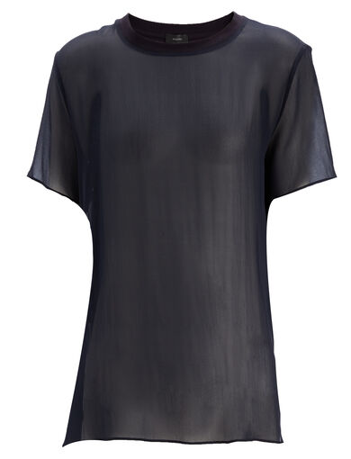 Jersey + Silk Georgette Tee, in DARK NAVY, large | on Joseph