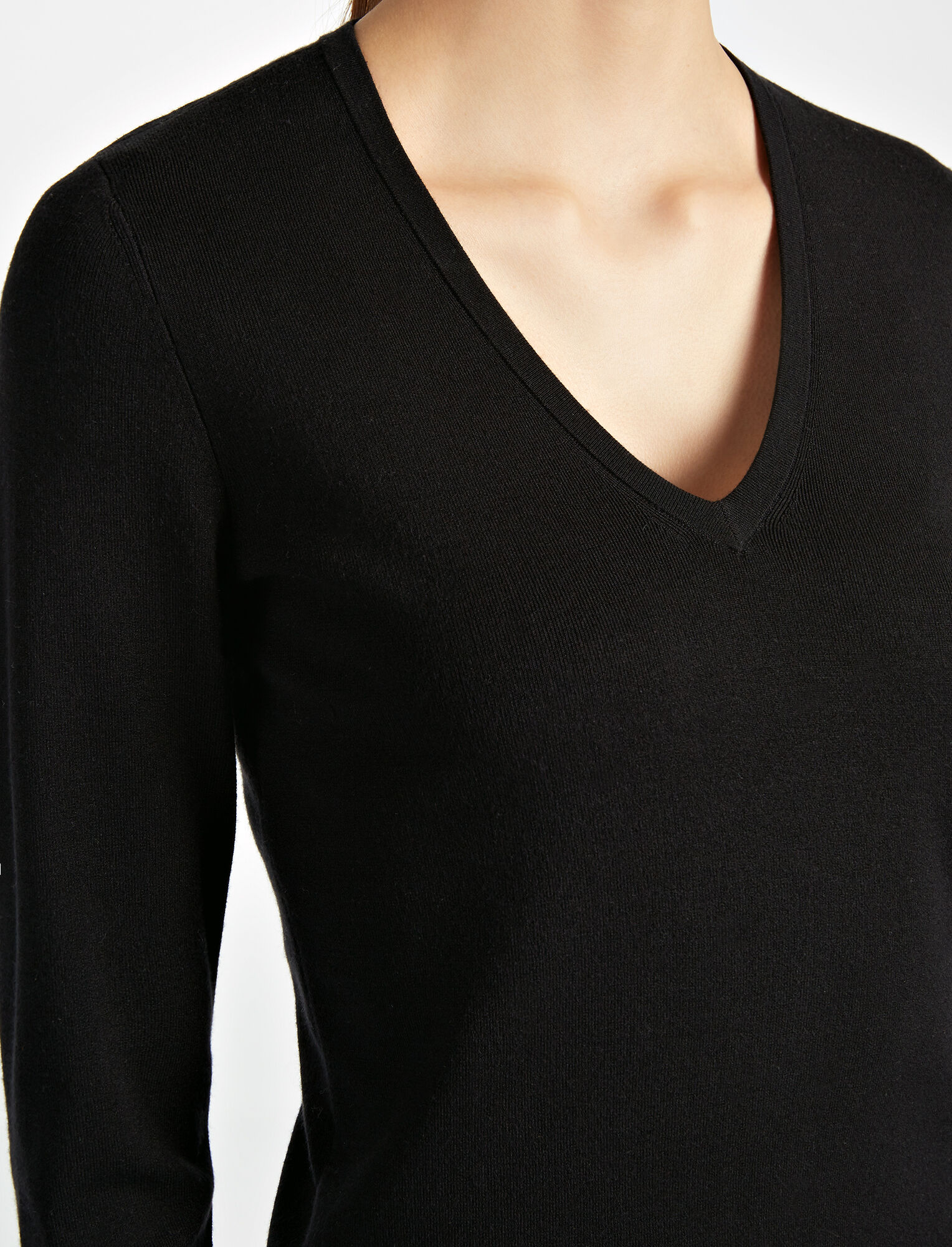 Silk Stretch V Neck Top, in BLACK, large | on Joseph