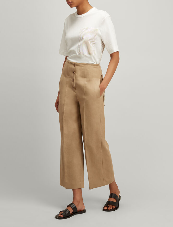Ramie Cotton Brod Trousers, in STOCKING, large | on Joseph