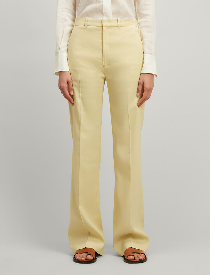 Linen stretch Ferguson Trousers, in CUSTARD, large | on Joseph