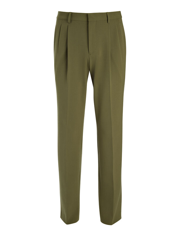 Techno Wool Stretch Clive Trouser, in KHAKI, large | on Joseph