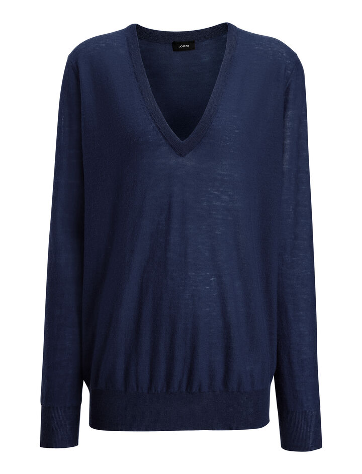 Cashair V Neck Sweater, in NAVY, large | on Joseph