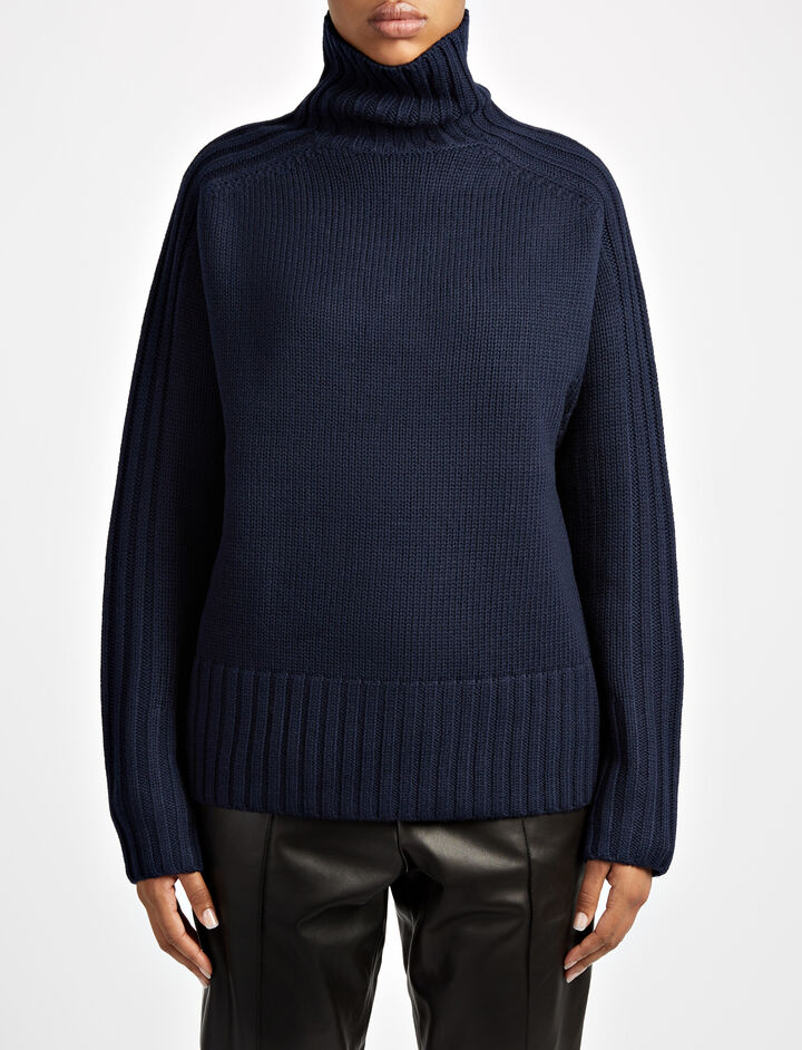 Chunky Knit High Neck Sweater, in NAVY, large | on Joseph