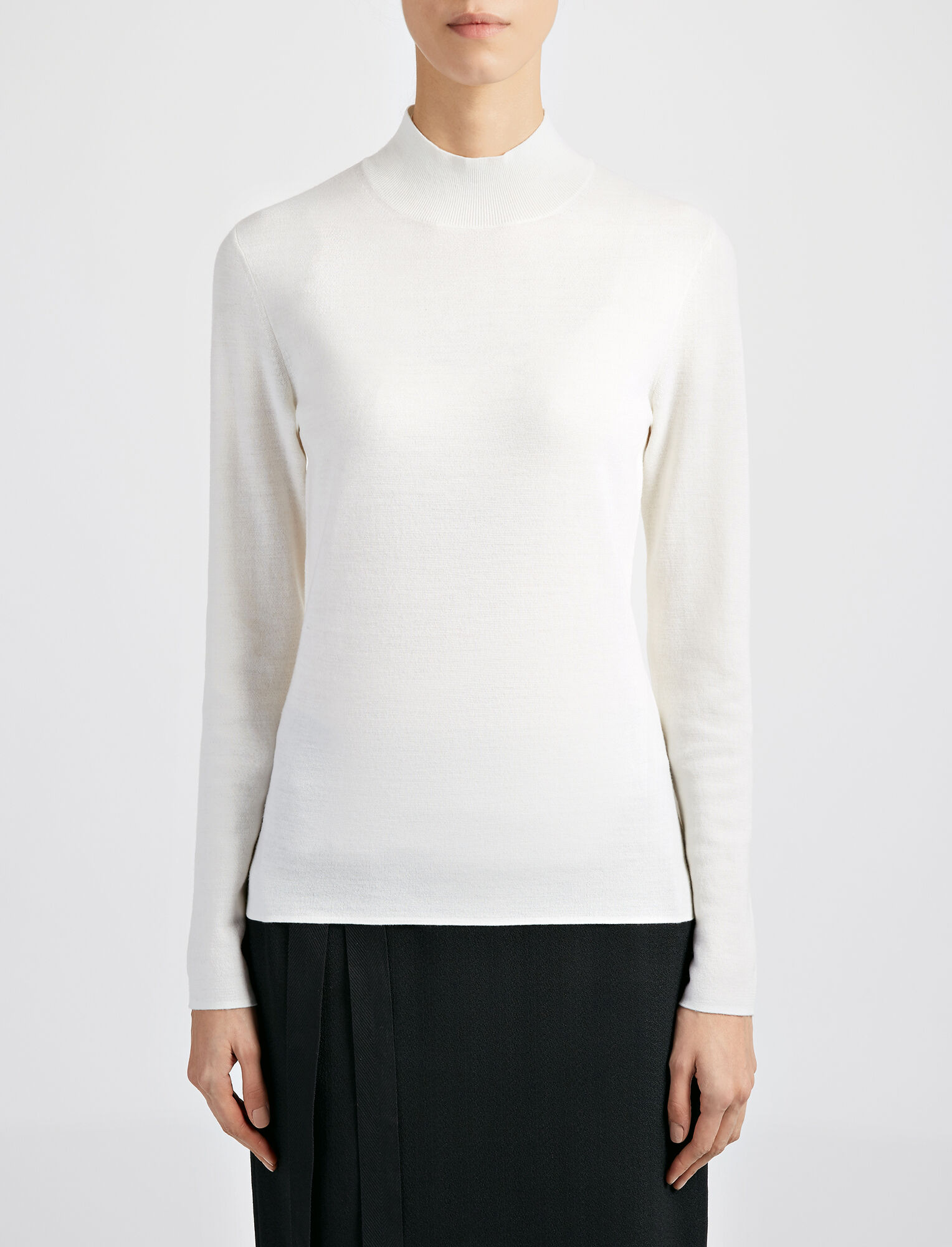 Joseph, Superfine Merinos High Neck Top, in BONE