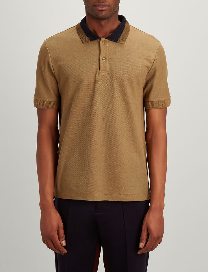 Joseph, Cotton Pique Polo, in TAWNY