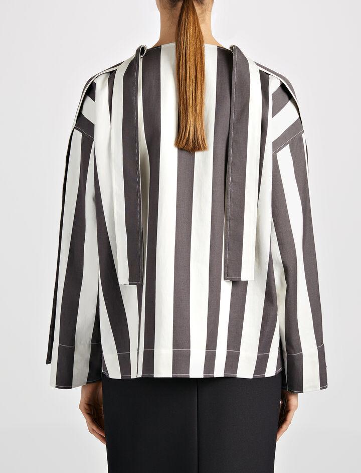 Wide Stripe Shirting Denver Blouse, in BLACK/WHITE, large | on Joseph