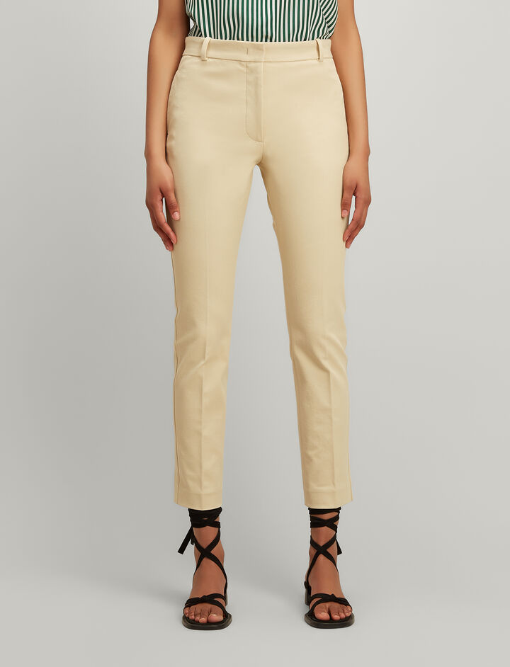 Joseph, Gabardine Stretch Zoom Trousers, in CUSTARD