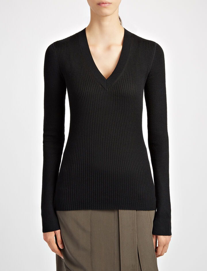 Wool Silk Cashmere Rib V Neck Top, in BLACK, large | on Joseph