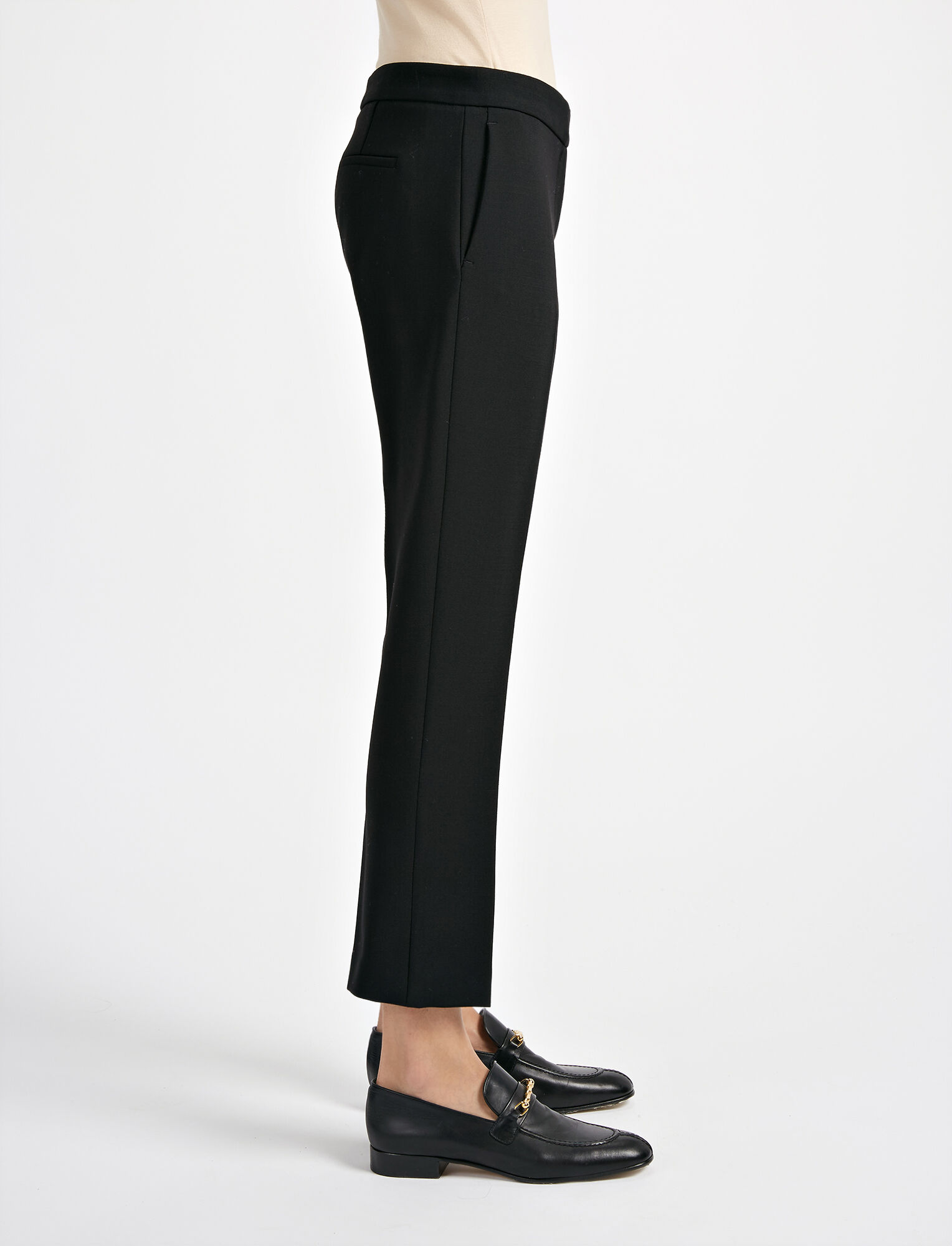 Stretch Wool Finley Trouser, in BLACK, large | on Joseph