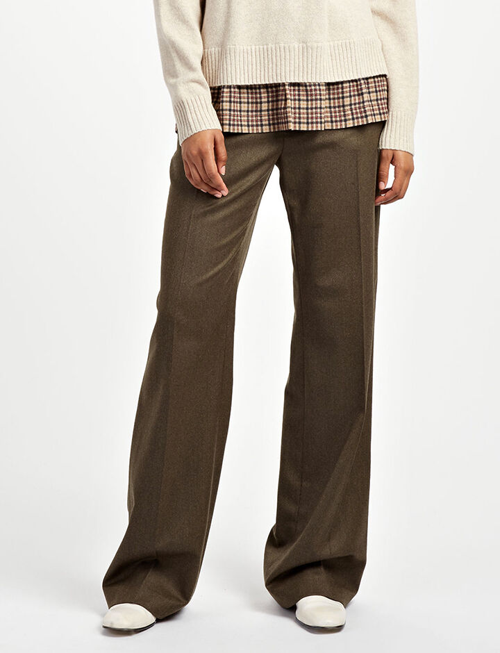 Flannel Stretch Fergus Trousers, in MILITARY, large | on Joseph