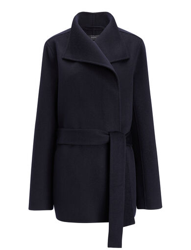 Manteau Lima court en double cachemire, in NAVY, large | on Joseph