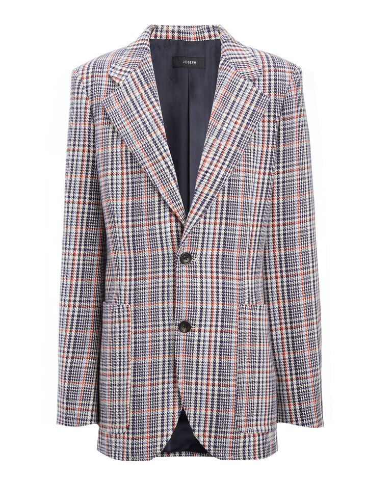 Elton Check Albert Jacket, in NAVY, large | on Joseph