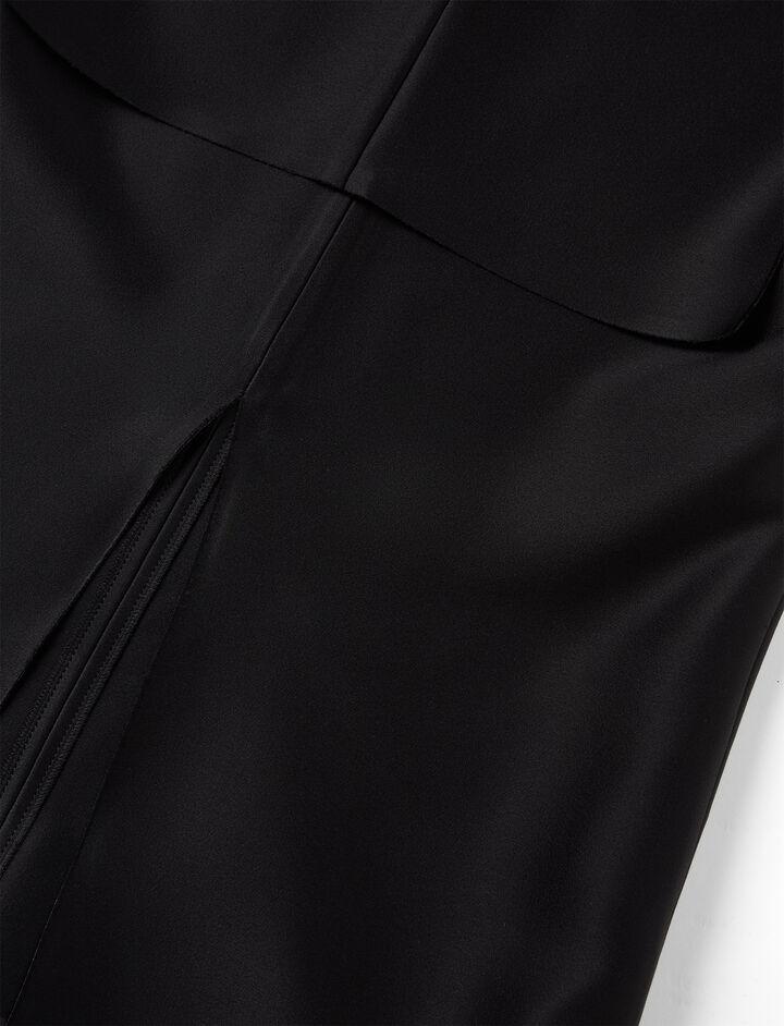 Double Satin Jess Blouse, in BLACK, large | on Joseph