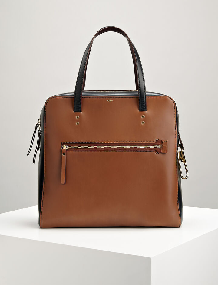 Leather Ryder Bag, in SADDLE, large | on Joseph