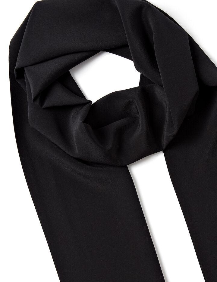Crepe de Chine Silk Tassle Scarf, in BLACK, large | on Joseph