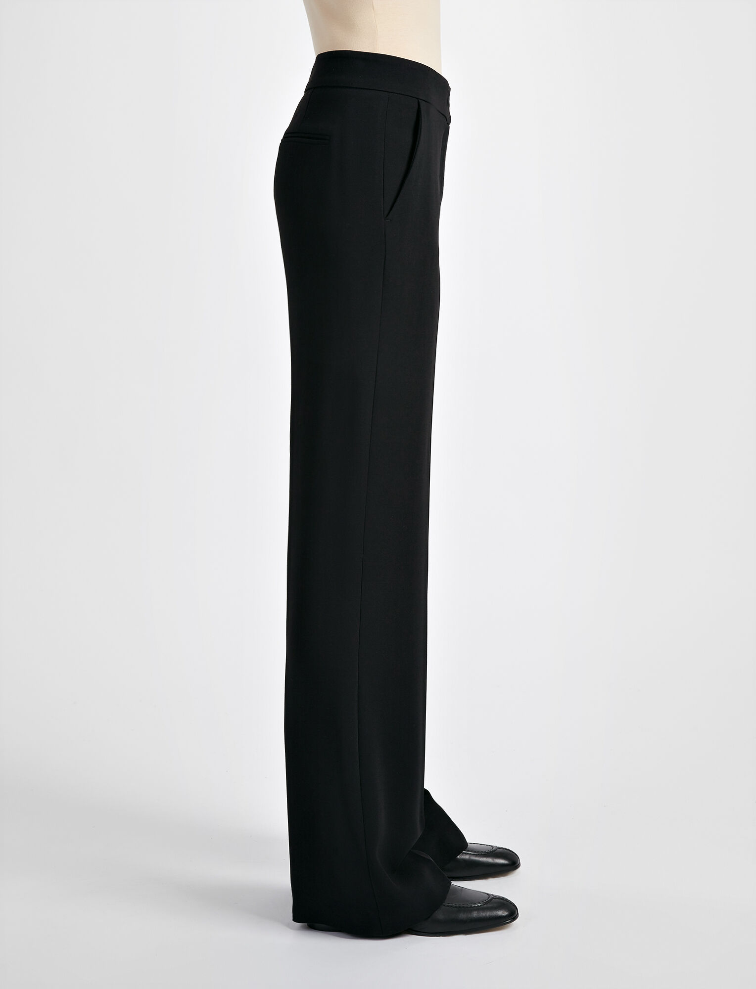 Viscose Cady New Jagger Trouser, in BLACK, large | on Joseph