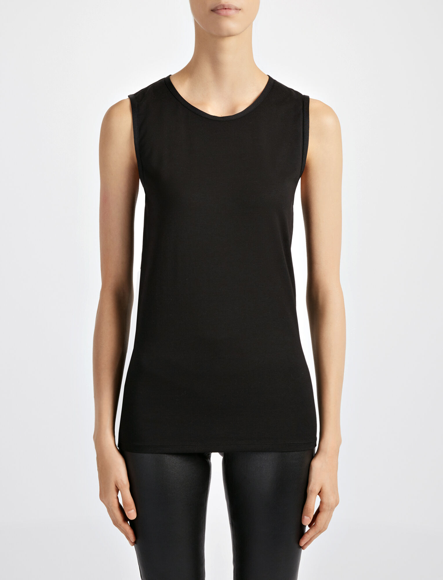 Joseph, Cotton Lyocell Stretch Tank, in BLACK