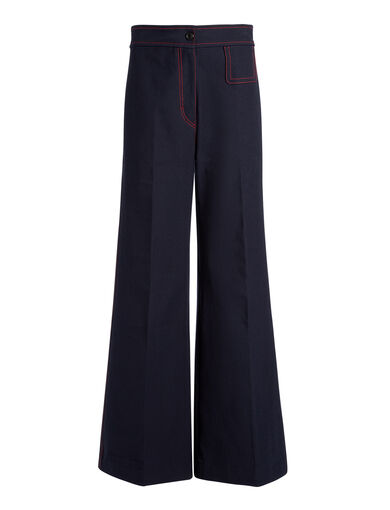 Gabardine Stretch Doni Trousers, in NAVY, large | on Joseph