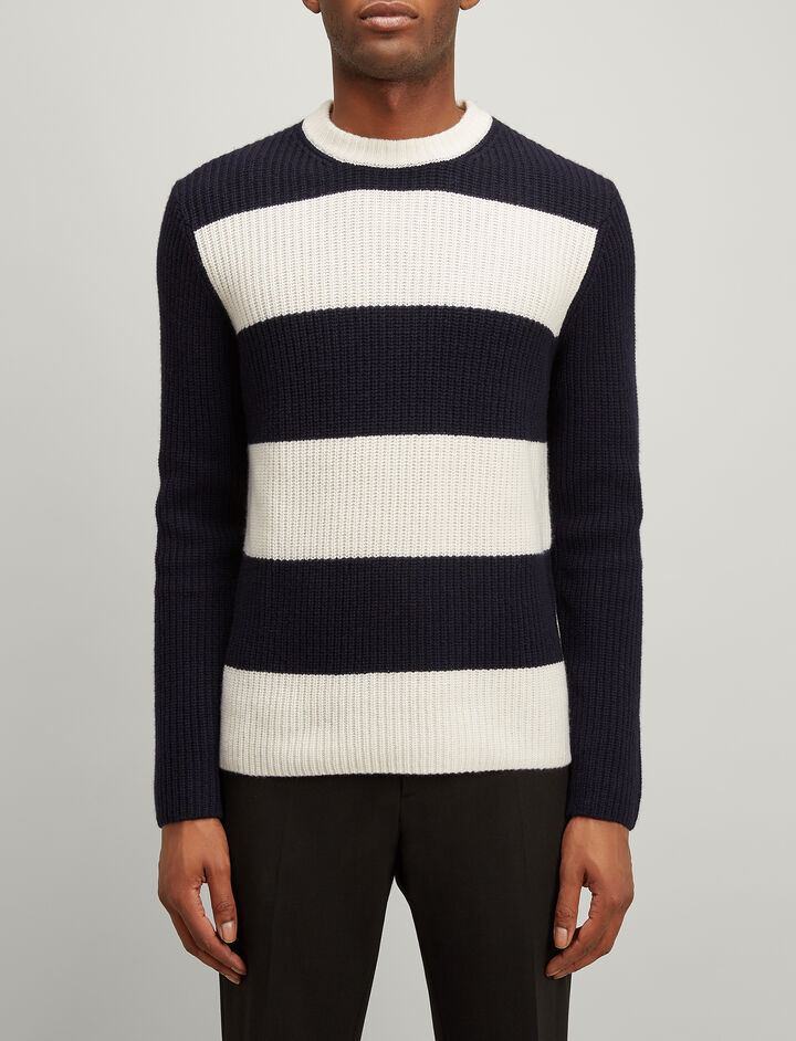 Cardigan Cashmere Stripe Sweater, in NAVY/ECRU, large | on Joseph