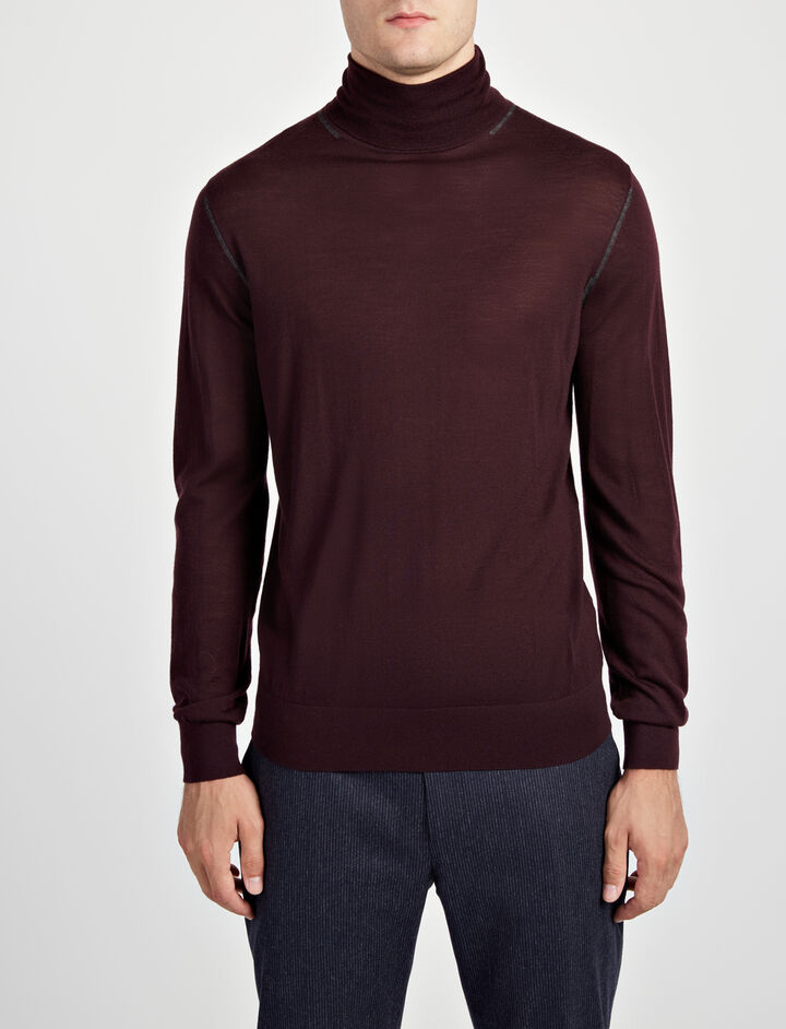 Light Merinos Roll Neck Sweater, in BURGUNDY, large | on Joseph