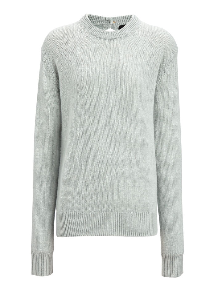 Joseph, Open Cashmere Round Neck Sweater, in WATERGREEN