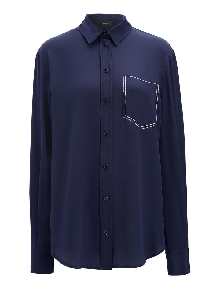Crepe de Chine New Garçon Blouse, in MARINE, large | on Joseph
