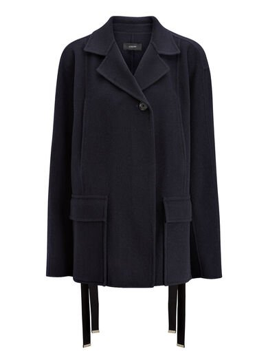 Manteau court Caplan en double laine, in INK, large | on Joseph