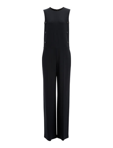Heavy Viscose Volta Commercial Jumpsuit, in BLACK, large | on Joseph