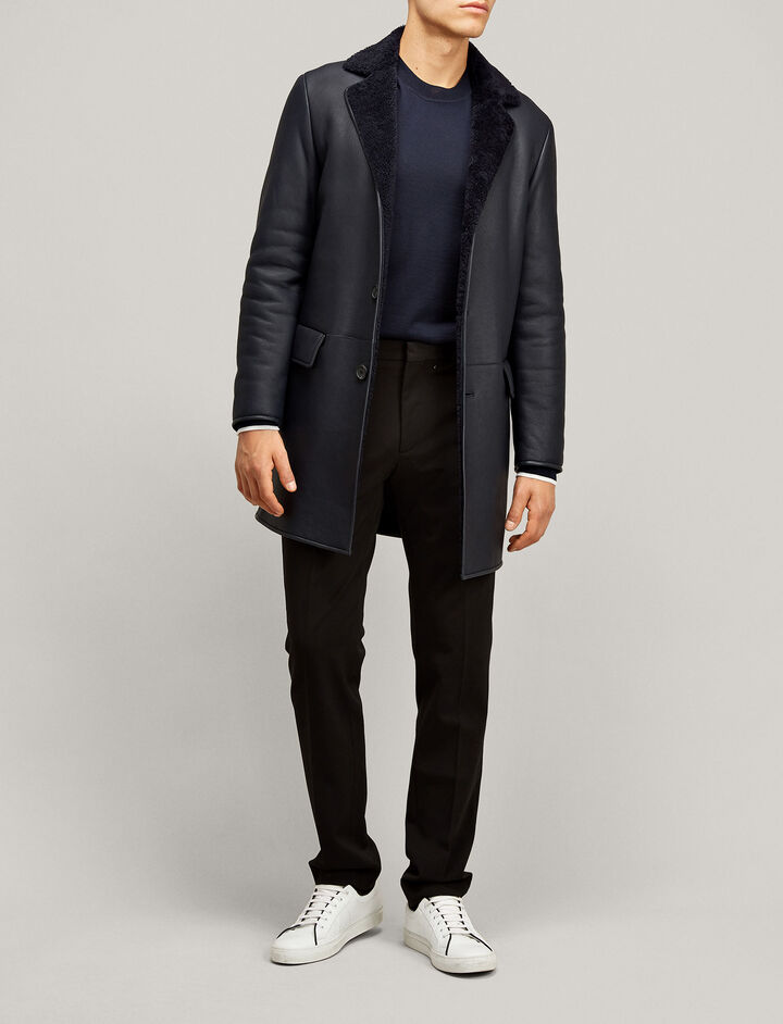 Joseph, William Leather Sheepskin Jacket, in NAVY