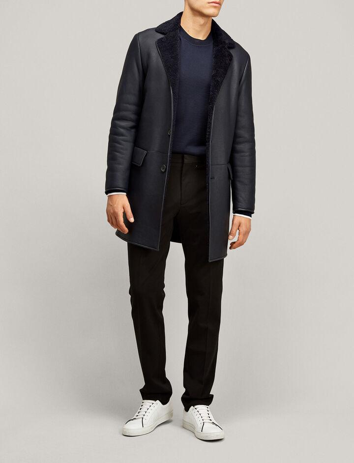Joseph, William Leather Sheepskin Jacket, in NAVY