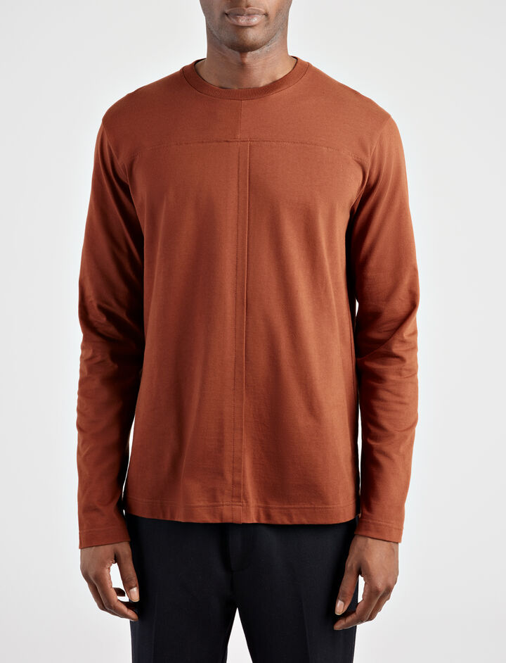 Heavy Tshirting Jersey Top, in RUST, large | on Joseph