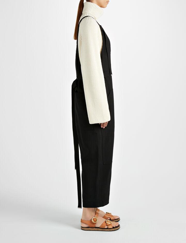 Double Cotton Crepe Wells Jumpsuit, in BLACK, large | on Joseph