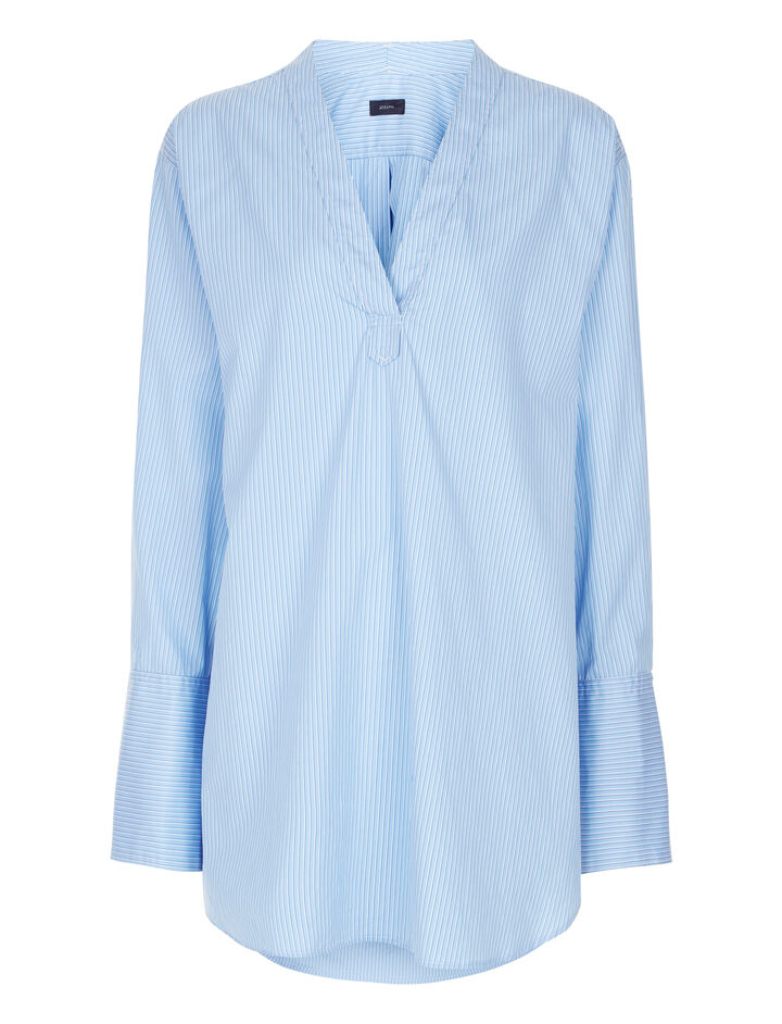 Joseph, Eamon Pinstripe Mix Blouse, in BLUE